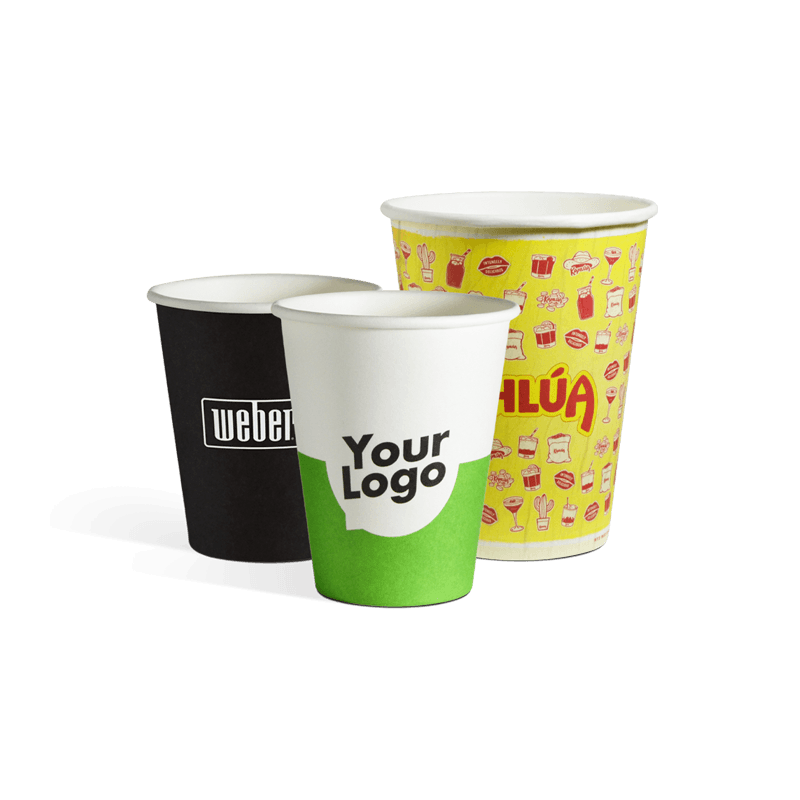 Custom printed single wall paper cups with logo
