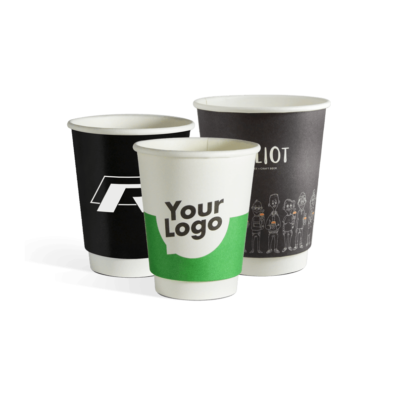 Custom printed double wall paper cups with your logo
