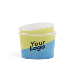 Biodegradable ice cream cups with digital print